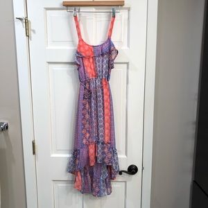 Xhilaration Print Ruffle High/Low Sun Dress